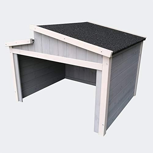 Wiltec Mähroboter Holzgarage Schrägdach Massivholz Unterstand Carport Grau 66,6x79,5x71,2cm