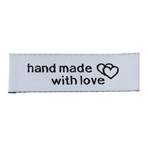 SiAura Material - 10x gewebte graue Handmade Etiketten, Webetiketten, Einnähetiketten, Textiletiketten, Kleideretiketten
