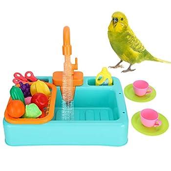 Petyoung Baignoire Multifonctionnelle pour Oiseaux pour Animaux de Compagnie Baignoire Automatique pour Perroquets Baignoire pour Oiseaux de Perroquets avec Jouet