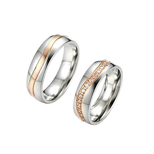 Aimrio 2 Stück Verlobungsringe Edelstahl Paar Zweifarbiger Zirkonia Hochglanzpoliert 6MM Silber Rose Gold Eheringe Partnerringe für Frauen und Männer Frauen 57 (18.1) & Männer 65 (20.7)