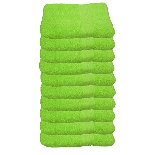 Julie Julsen Lot de 10 serviettes d'invité sans produits chimiques - 600 g/m² - Vert pomme - 30 x 50 cm - 100 % coton - Certifié Öko-Tex Std 100 - Doux et absorbant - Lavable en machine