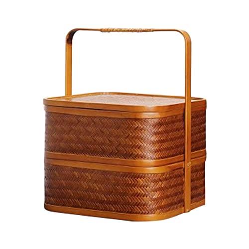 Fenteer Fiambrera de Estilo Chino Caja de Almacenamiento Diseño de Doble Capa Exquisita Mano de Obra Almacenamiento Comidas Regalo de Picnic para la Familia - Pequeña