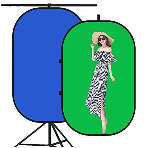 HLDUYIN Pantalla Verde PortáTil Fondo Azul Y Verde 2 En 1Pantalla Verde Plegable Emergente con Soporte Kit, Adecuado para reproducción de Medios de transmisión en Tiempo Real, etc,150 * 200cm