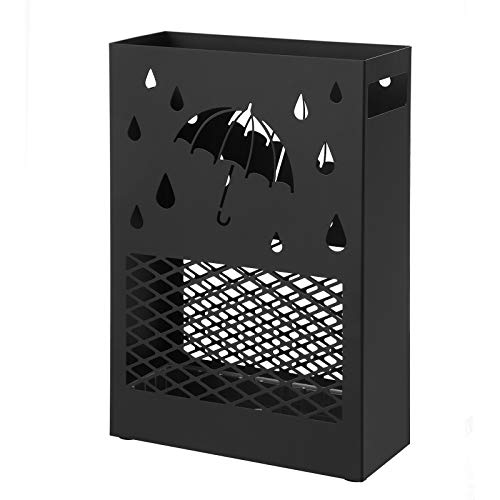 SONGMICS Metal Umbrella Stand, Rectangular Umbrella Holder Rack, with a Removable Drip Tray, 4 Hooks, Cutout Design, for Entryway, Office, Black ULUC004B01