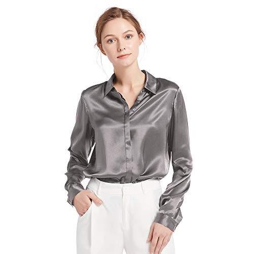 LilySilk - Blusa de seda para mujer, con botones ocultos de 22 momme, paquete múltiple. gris XXL