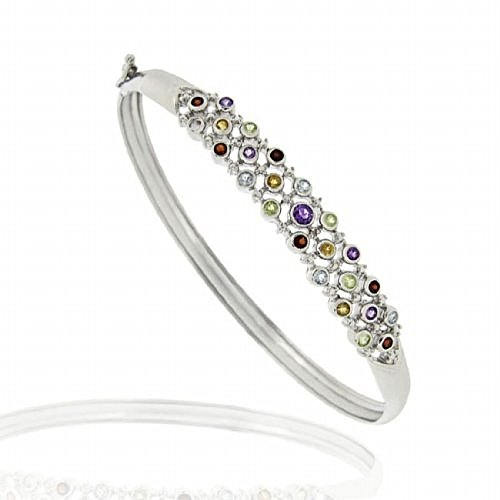 Luxuriöser Armreif / Armband mit Amethyst, Citrin, Peridot, Granat und blauem Topas, Sterling Silber