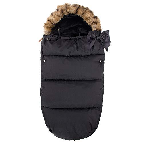 SPRINGOS Fußsack|70x45 cm|Winterfußsack|Winterschlafsack|Schlafsack für Baby|Kinderwagen|Schlitten (Schwarz)