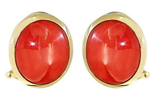 Hobra-Gold Pendientes de clip oro 750 coral cabujones pendientes 18 quilates 9 gr mujer