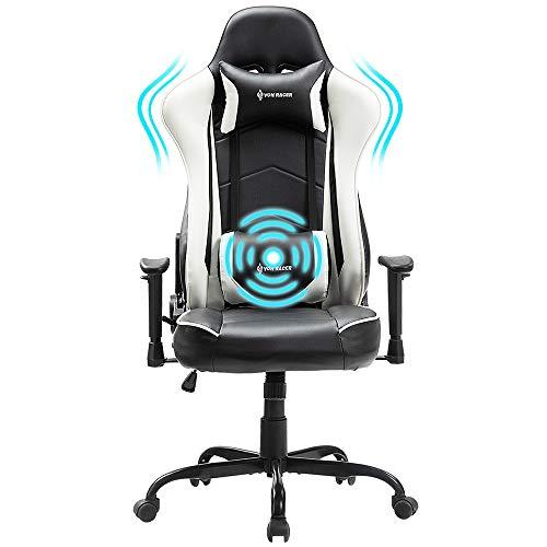 Kasorix Gaming Stuhl -Schreibtischstuhl mit Massage-Lordosenstütze, Ergonomischen Ledersesseln für den Home Office-Rennstil mit Verstellbaren Armlehnen und Abnehmbarer Kopfstütze(Weiß-8351)