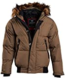 J. Whistler Men's Quilted Insulated Puffer Jacket with Hood, Size X-Large, Khaki