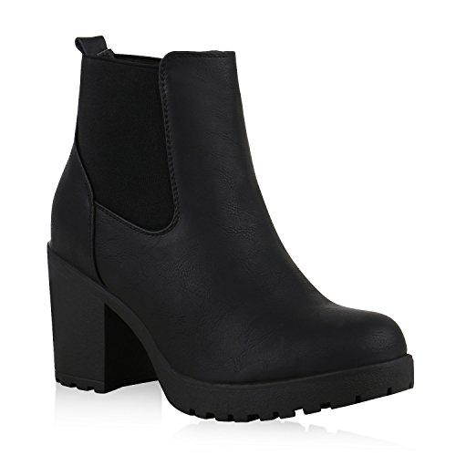 Damen Chelsea Boots Blockabsatz Stiefeletten Schuhe 126076 Schwarz Black Amares 36 Flandell