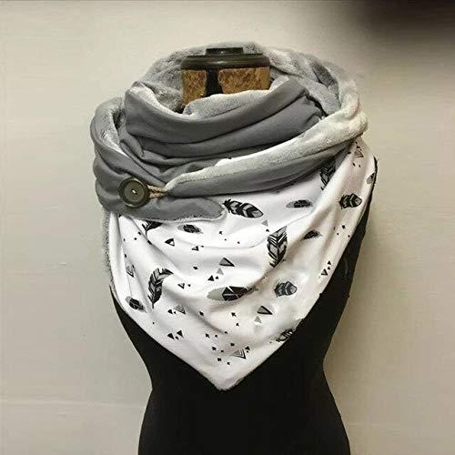 Berrd Bufanda de Cachemira de Invierno a la Moda Botón con Estampado de Estrellas sólidas Abrigo Suave Bufandas cálidas Ocasionales Chales - 15,1