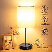 Touch Control Table Lamp, USB Touch Lamp with AC Outlet, 3 Way Dimmable Bedside Nightstand Lamp, LED Desk Lamp USB Reading Lamp Modern Lamp for Bedroom Living Room Office(Bulb Included)