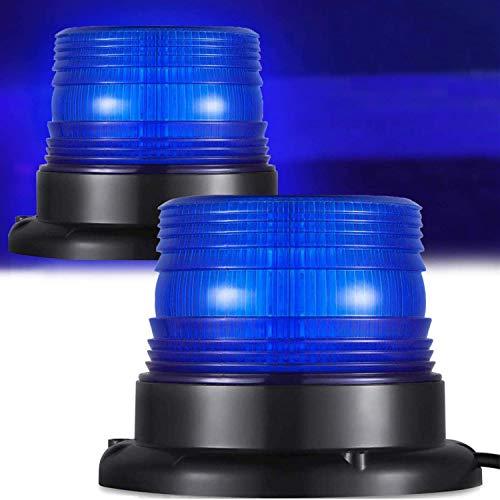 Warnleuchten Warnlicht Magnet Rundumleuchte Magnetmontage Zigarettenanzünder, für 12V und 24V,Blinkleuchte für (blau)