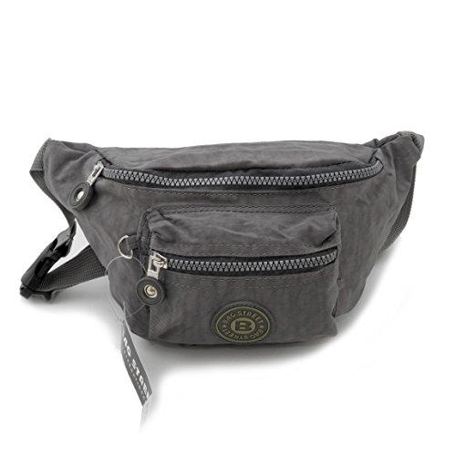 Bag Street Gürtel Tasche Hüfttasche Bauchtasche Nylon präsentiert von ZMOKA® in versch. Farben (Grau)