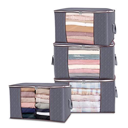 Aufbewahrungstasche Groß Kleideraufbewahrung mit verstärktem Griff und Stabilem Reißverschluss 4 Stück Faltbare Unterbett Kleideraufbewahrung Organisator Lagerung für Bettdecken, Kleidung, Decken