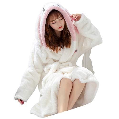 N-B Bata de baño de terciopelo coral para mujer con dibujos animados lindos y cálidos con capucha para señoras Casual Conejo Franela Kimono batas de baño batas de baño