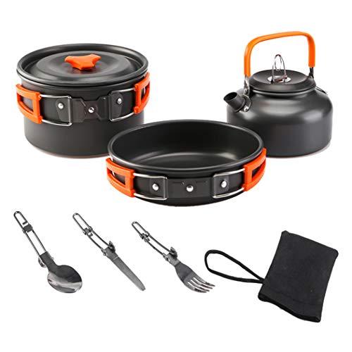 FLHLH - Juego de utensilios de cocina para acampada al aire libre de aleación de aluminio para 2 a 3 personas plegables, cazoletas y ollas para viajes, camping, senderismo, picnic, barbacoa, color naranja
