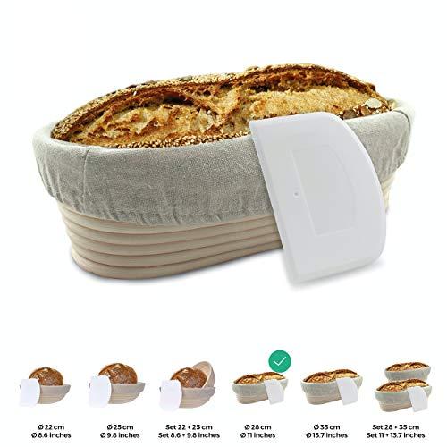 Gärkörbchen + Teigschaber – Der ideale Gärkorb aus natürlichem Peddigrohr (oval, 28 cm) – mit Leineneinsatz, rostfrei geklammert