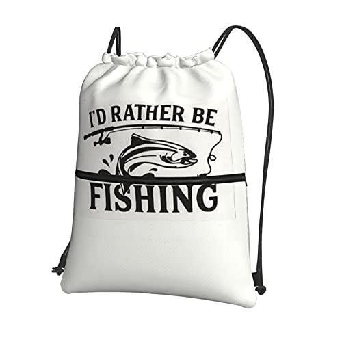 I'D Rather Be - Bolsas de pesca con cordón impermeable con cordón para gimnasio, natación, bolsa de polietileno, bolsa de cordón para la escuela, niñas, mochila de compras, yoga, escuela, playa