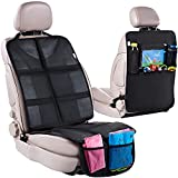 H Helteko Car Seat Protector with Thickest Padding + Backseat Car Organizer, XL Largest Car Seat Cover for Child Baby Carseat, Waterproof & Durable 600D Fabric, Kick Mat Back Seat w/ Storage Pockets