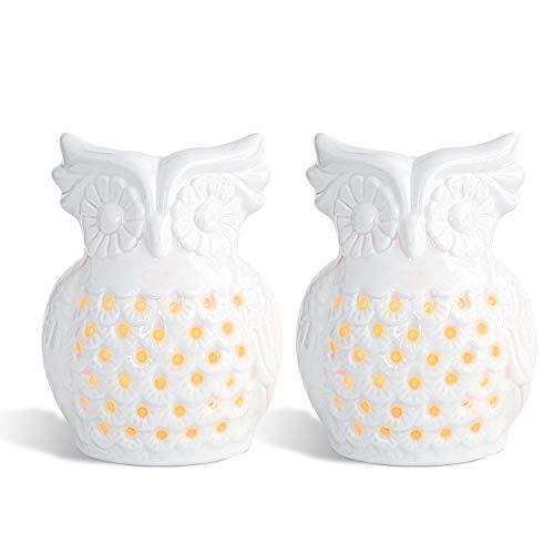 ComSaf Eule Keramik Duftlampe Aromabrenner mit Kerzenhalter Weiß 2er-Set