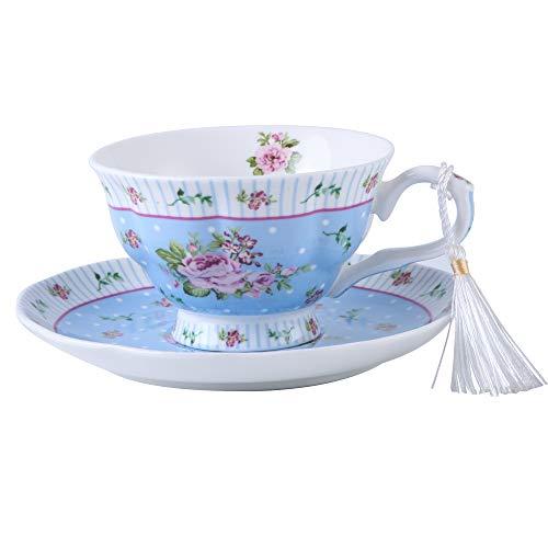 London Boutique Kaffee und Tee-Tassen und Untertassen Set von 2 Vintage Flower Flora Rose Lavendel Geschenk-Box, Keramik, 1pc Set, 11x8cm (Shabby Chic Blau)