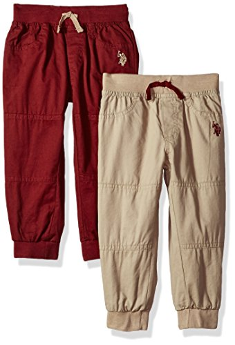 U.S. Polo Assn. Boys' Toddler 2 Pack Fleece Pant, Burgundy Heather, 3T