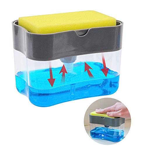 Dualshine 2-in-1 Sponge Rack Soap Dispenser Holds and Stores Sponges Scrubbers Unbreakable PP Countertop Sink Dispenser Cleaning Dishes Faster Best for Kitchen and Hotel