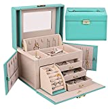SANSREPONSE Jewelry Box Organizer Faux-Leather with Mirror TiffanyBlue Four Sizes Gift for Women (TF Blue-M)