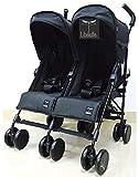 Kikoé Twin - Silla de paseo doble de 0 a 3 años, gemelos para niños, edad acertada, ultra compacto, plegado, bastón con 2 asientos separados, 4 posiciones, doble capota XXL, parasol, color negro