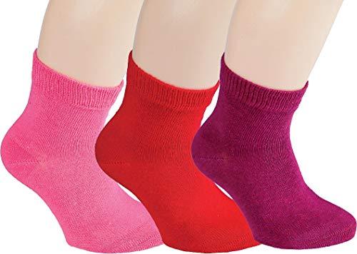 Vitasox 21097 Kinder Jungen Mädchen Socken Kindersocken Kindersöckchen Baumwolle einfarbig bunt ohne Naht 3er Pack 27/30