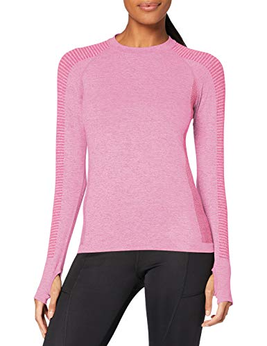 Marca Amazon - AURIQUE Camiseta Deportiva de Manga Larga sin Costuras Mujer, Rosa (Pink Marl), 38, Label:S