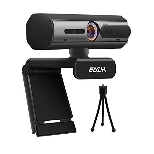 EACH Cámara web Full HD de 1080P, cámara USB CA601 con cubierta de cámara web, cámara web para videollamadas y grabación para escritorio o portátil
