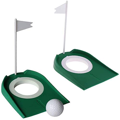 Golf Putting Cup,Practice Training Aids,Indoor Outdoor Plastic Golf Putting Hole Putter Regulation Cup,Practice Aids with Adjustable Hole White Flag 2pcs/Set