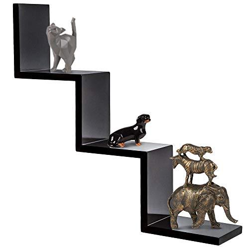 BAKAJI Libreria Mensole da Parete Moderna Design Zig Zag Mensola Scaffale in Melamina Effetto Legno Dimensione 70 x 15 x 14 cm (Nero)