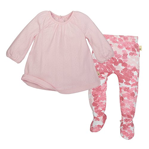 Burt's Bees Baby Girls' Organic Dress & Footed Pant Set, Blossom Pointelle, 0-3 Months