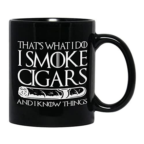 Witty Cigarette Mug 11 Oz CigarGifts for Dad Tobacco Cigars Smokers Men, Black