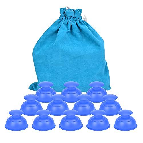 Hydream Silikon Schröpfen Cups, Anti Cellulite Massage Cups Cupping Set Therapie Set Vacuum Tassen Schröpfgläser Body Saugnäpfe Vakuum Massagegerät für Anti Aging, Muskel Entspannung (12PCS/Blau)