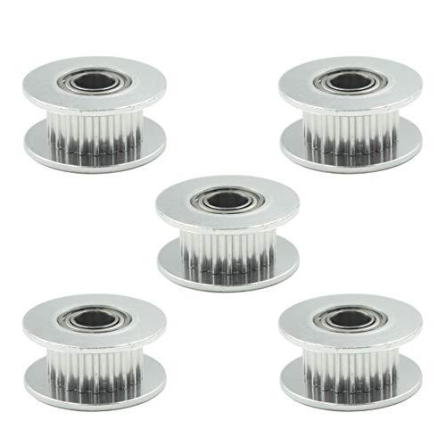 TOUHIA 5 piezas GT2 Polea de distribución de correa de 20 dientes, calibre de 5 mm, para impresora 3D, correa de 6 mm de ancho (plata, aleación de aluminio)