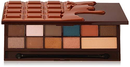 Makeup Revolution Palette per ombretti al cioccolato cuore con specchio e applicatore per caramello salato (16 ombretti), 22 gr