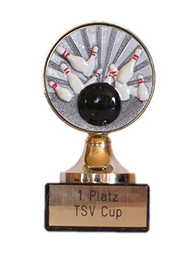 RaRu Bowling-Pokal mit Gravur und Resin-Emblem + 3 Bowling-Anstecknadeln.