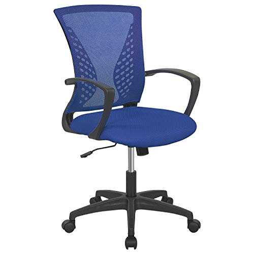 Office Chair Ergonomic Desk Chair Mesh Computer Chair with Lumbar Support Armrest Rolling Swivel Adjustable Task Chair for Adults(Blue)