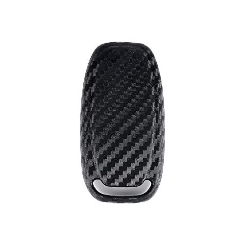 1797 Compatible Key Fob for Audi Accessories A3 A4 A5 A6 A7 A8 Q3 Q5 Q7 Quattro Case Holder Cover Car Remote Chain Ring Shell Protector Women Men Soft Silicone Carbon Fiber Black