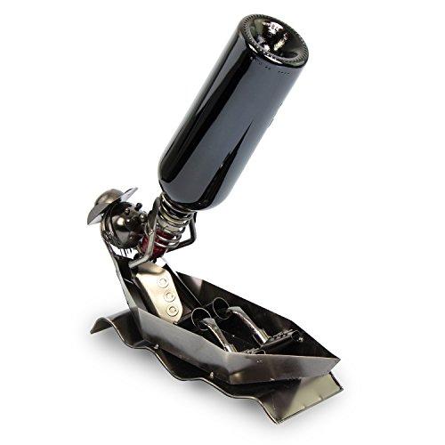 Grinscard 'Supporto di Bottiglia di Vino Gondolier Design–Metallo Nero–Supporto Vino stoccaggio e Presentazione–Grins Card