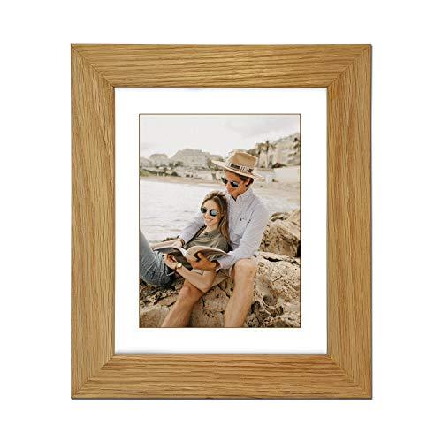 Echt eiken natuur massief houten fotolijst en posterlijst, (50,8 x 40,6 cm) voor (A3) met witte passe-partout
