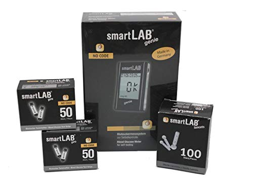 smartLAB genie Blutzuckermessgerät Bundel mit 100 Teststreifen und 100 Lanzetten | Messgeräte mit großem Display
