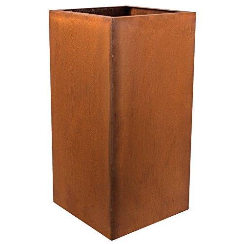 Köhko® Designer-Pflanzkübel aus Cortenstahl Viva 30 x 30 x 60 cm | Blumentopf in Edelrost-Optik