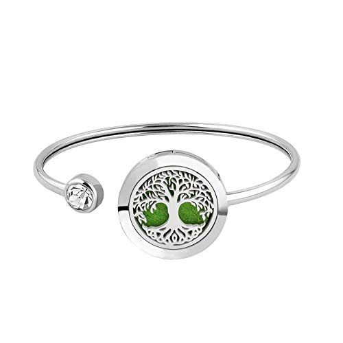 Cool Jewelry Essential Oil Bracelet Staniless Steel Tree of Life Bracelet Aromatherapy Magnetic Bangle with 12 Color Pads