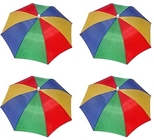 4 Pack Rainbow Umbrella Hat Cap Hands Free With Head Strap For Sun Rain
